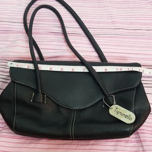"Tignanello  Handbag Black Leather Size 8"" ×13.5"